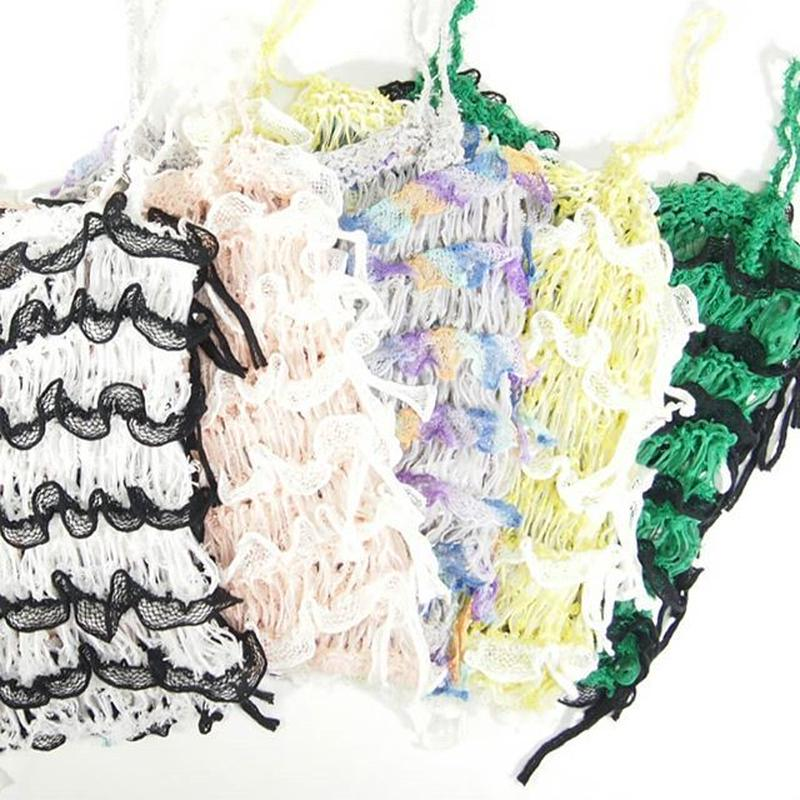 Frilled Lace Camisole < white / pink  / yellow / green >