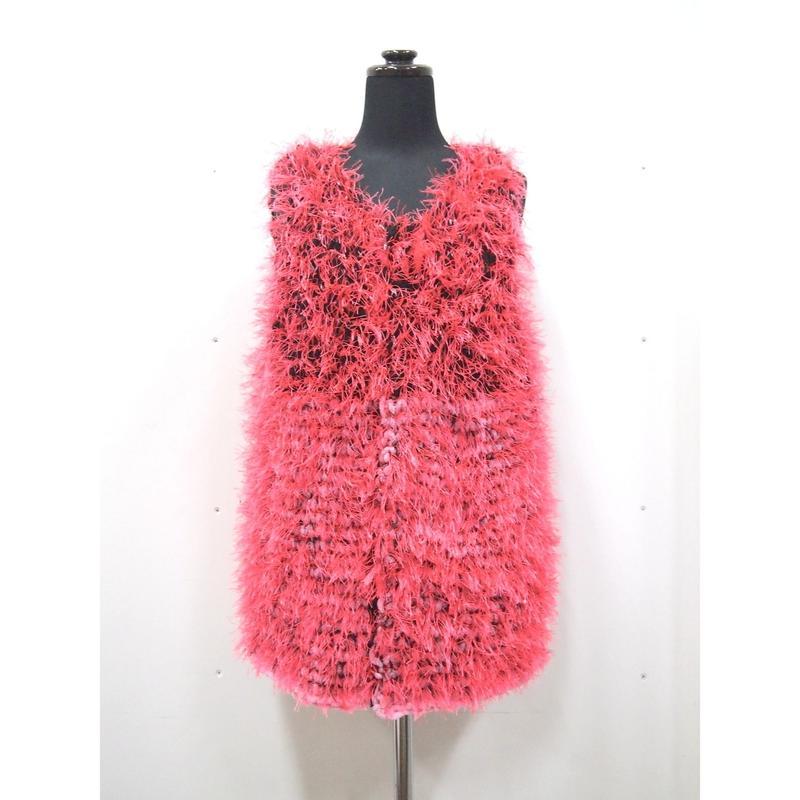 Long fur gilet  < BLACK × PINK_neon pink fur >
