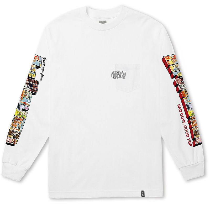 HUF GREETINGS L/S POCKET TEE WHITE