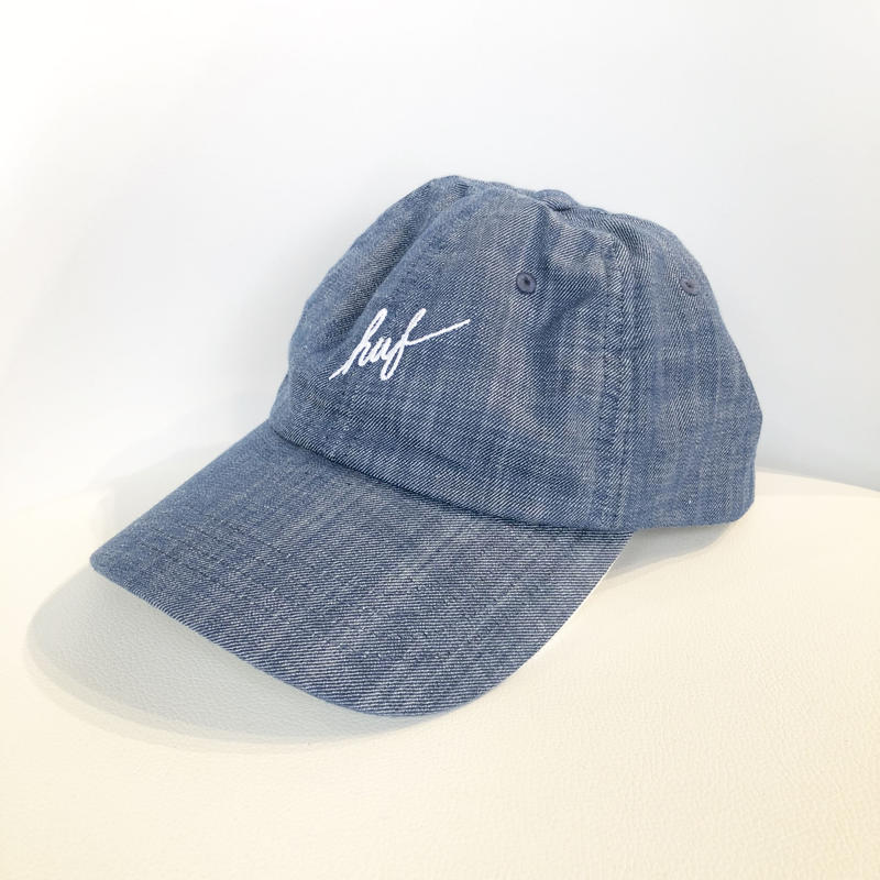 HUF STRAPBACK CAP SCRIPT CHAMBRAY CURVED VISOR 6-PANEL DENIM