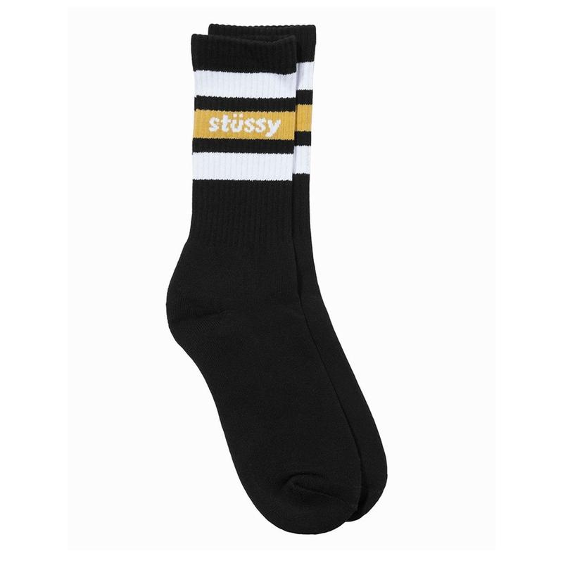 Stussy STRIPE CREW SOCKS BLACK