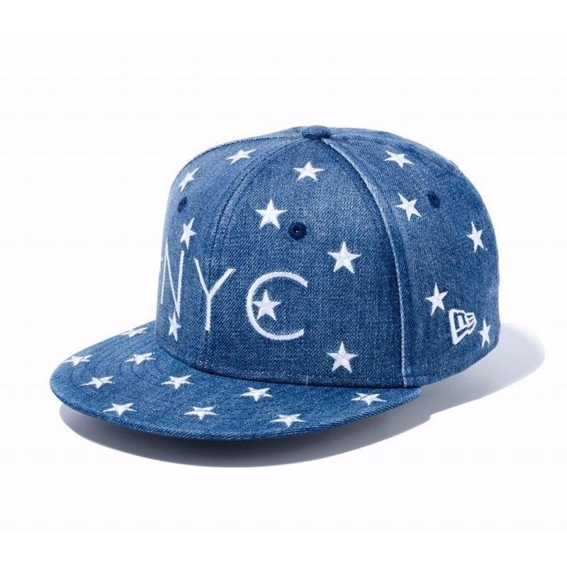【キッズ】NEWERA Youth 9FIFTY スターズ オン デニム NYC ウォッシュドデニム × ホワイト