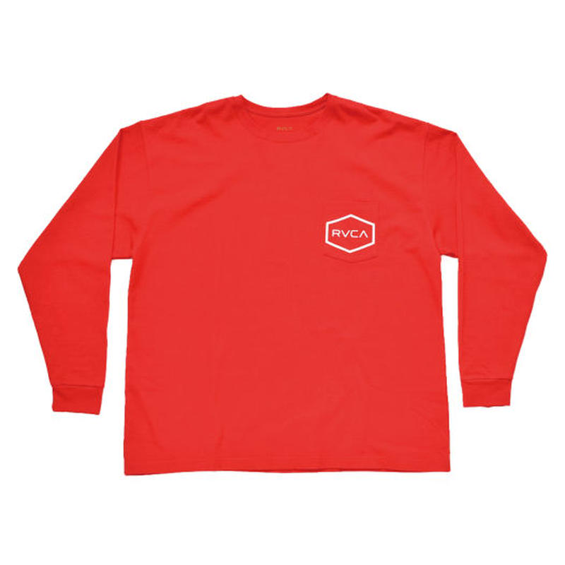 RVCA BIG HEXED L/S TEE RED