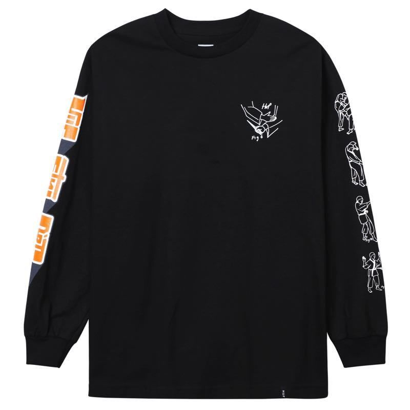 HUF SUPER KARATE L/S TEE BLACK