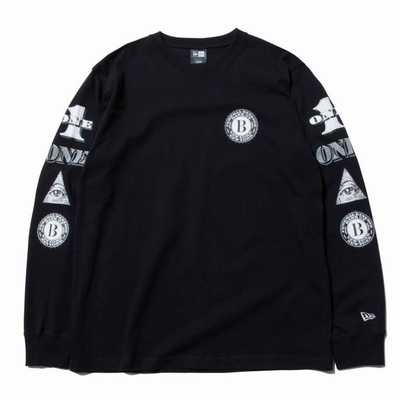 NEWERA L/S COTTON TEE DOLLAR BLACK/WHITE