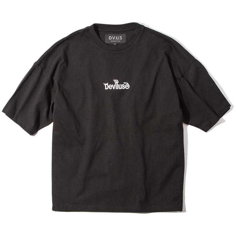 Deviluse Logo Embroidered Big T-shirts BLACK