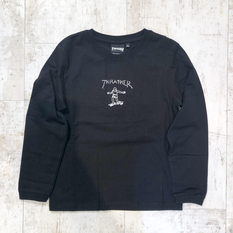 【キッズ】THRASHER×MARK GONZALES GONZ PRINT KIDS L/S BLACK