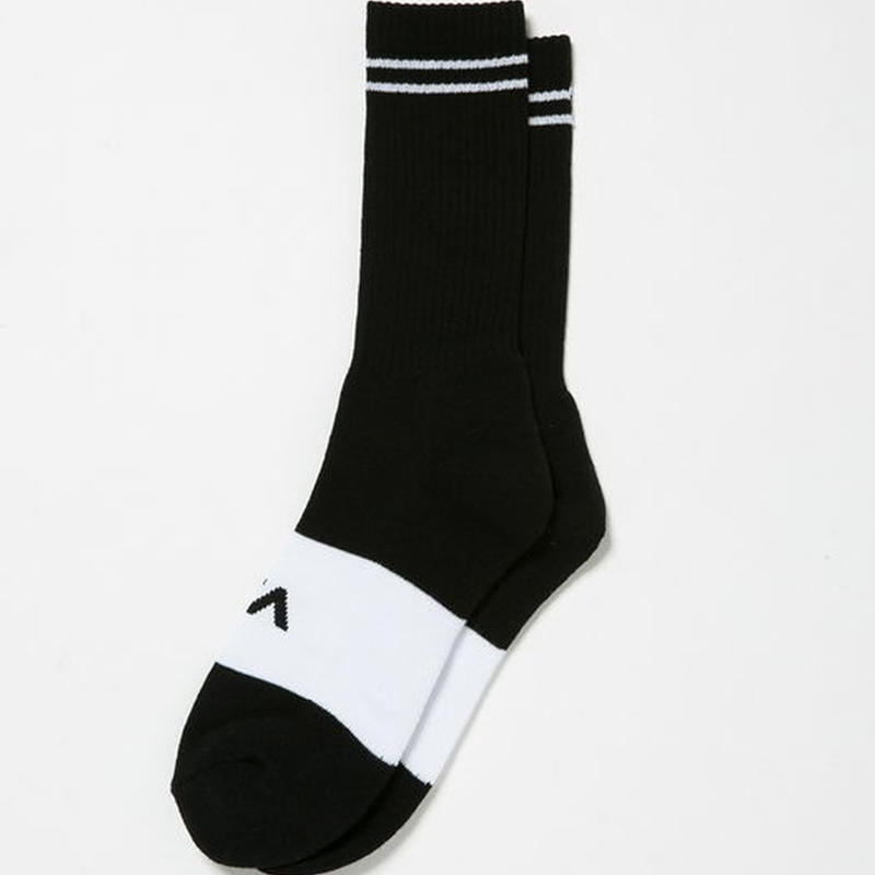 RVCA BASIC BLOCK SOCKS BLACK
