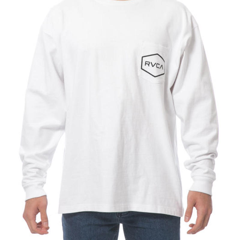RVCA BIG HEXED L/S TEE WHITE