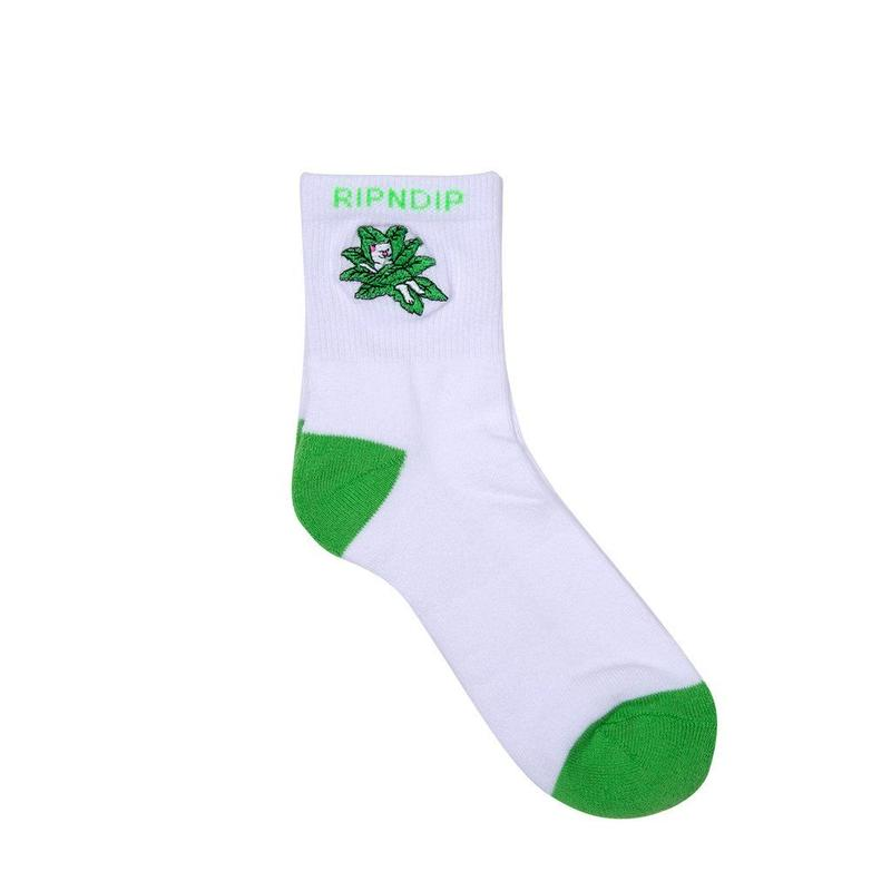 RIPNDIP Tucked In Socks WHITE/GREEN