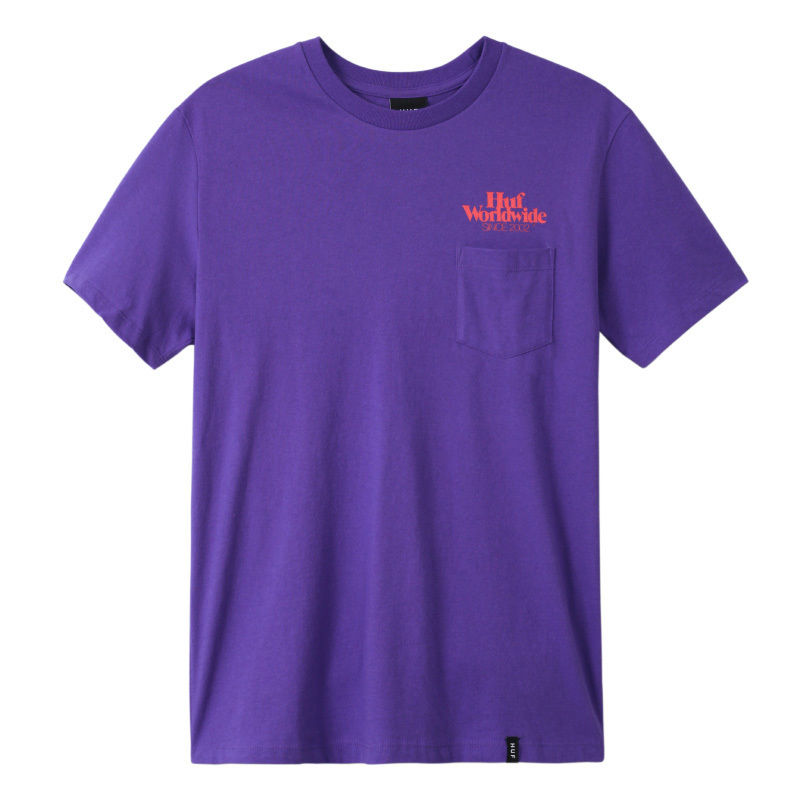HUF ISSUE LOGO S/S POCKET TEE ULTRA VIOLET