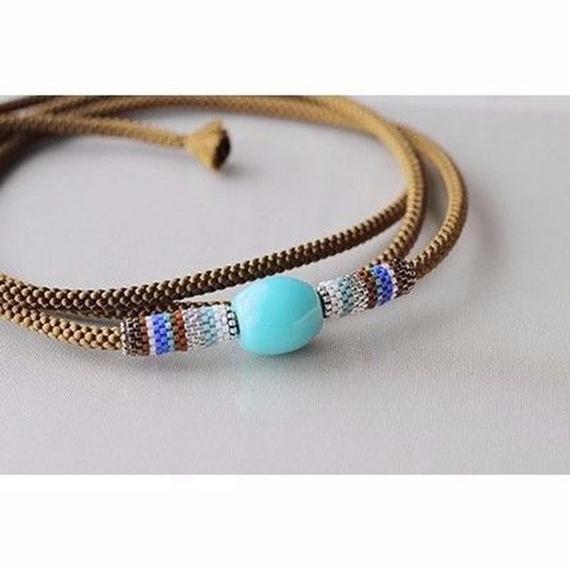 帯締め*stripe/turquoise