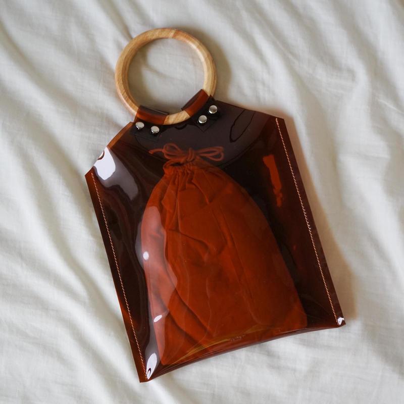PVC Studs Bag  -Brown-