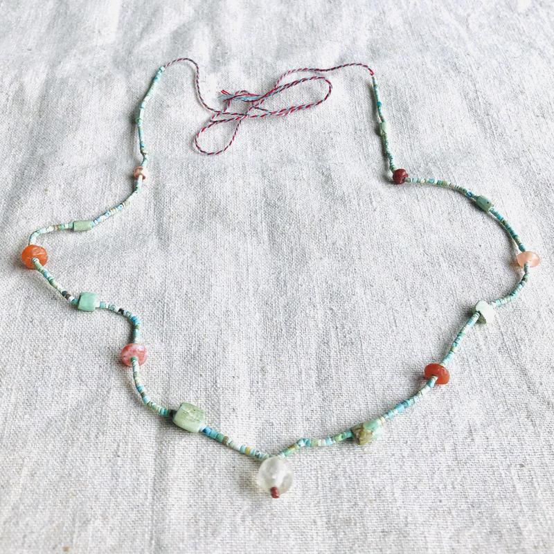ishi jewelry / tiny turquoise, moonstone , coral  necklace / イシジュエリー