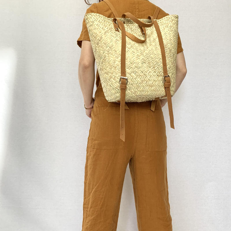 pips  / palm leaf basket backpack  with brown  leather handle  / ピップス/ パームリーフバスケット バックパックバッグ