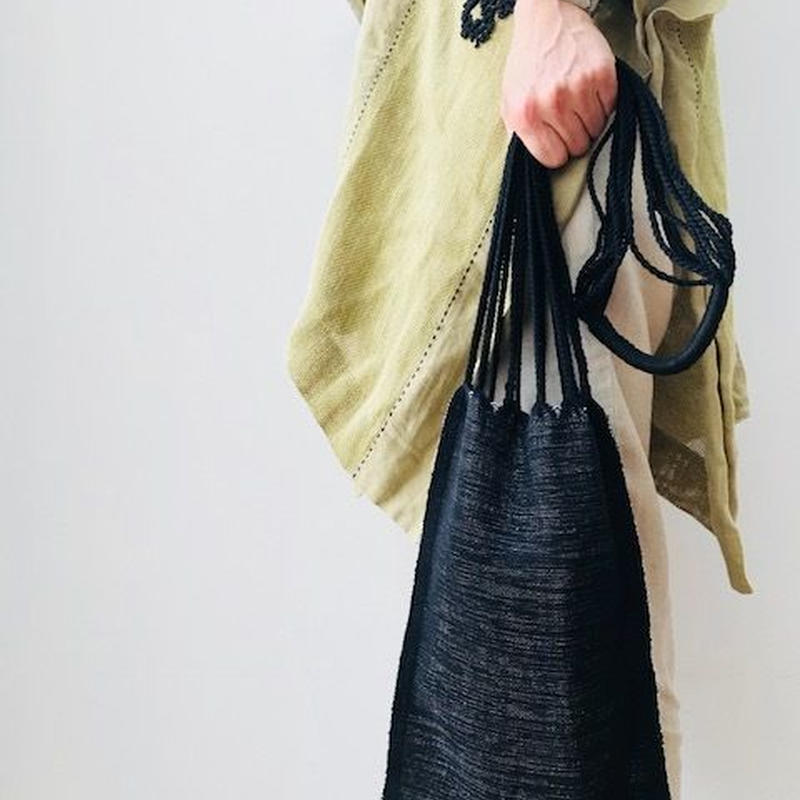 pips / cotton hand woven  hammock bag /One shoulder bag / black x natural /  ピップス / コットン ハンモックバッグ