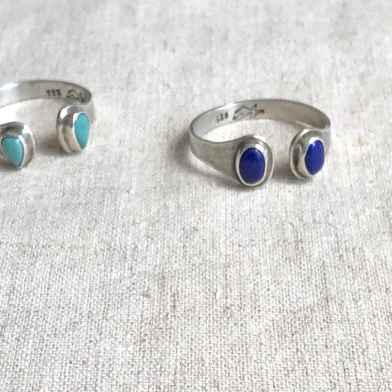 ishi jewelry /silver  ring encontrado lapis / turquoise  / イシジュエリー / ダブルストーン シルバーリング / ラピスラズリ/ ターコイズ