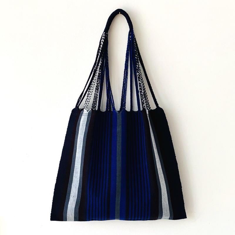 pips / cotton hand woven hammock bag / blue  / ピップス / コットン ハンモックバッグ