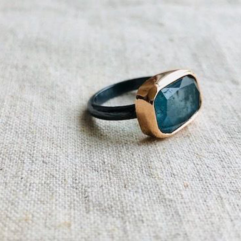ishi jewelry /10k rose gold bezel x oxidized silver ring with Moss Aquamarine
