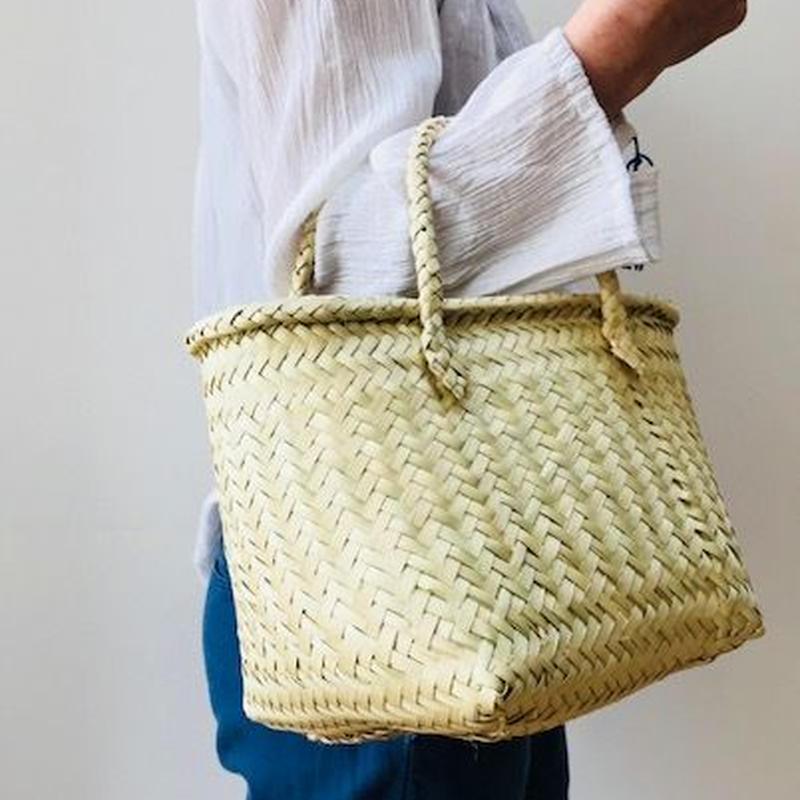 pips /  palm leaf basket tote bag with palm leaf  handle   / ピップス/ パームリーフバスケットバッグ