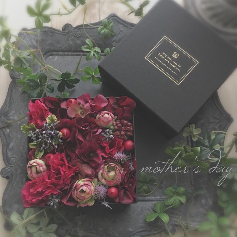 ◆mother'sday box flower  母の日限定ボックスフラワー【紅-beni】オリジナルハーブティーセット