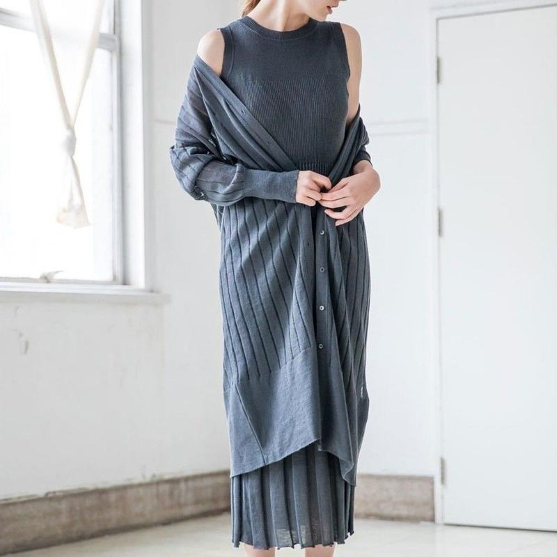 LINEN RIB KNIT ONE-PIECE