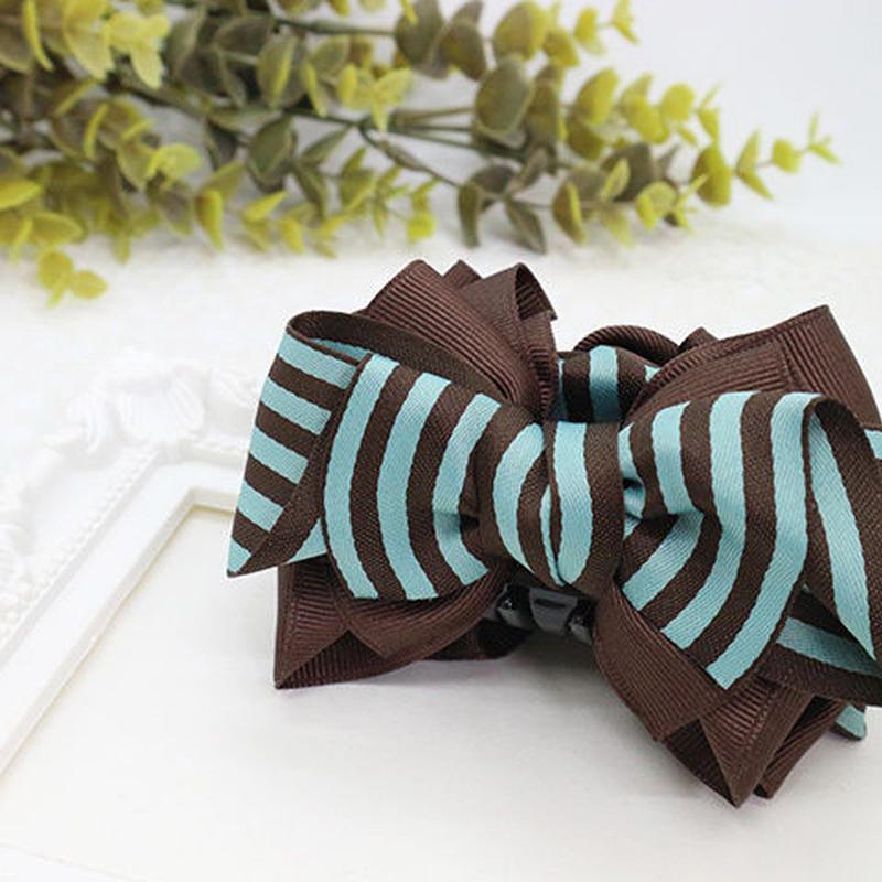 太めボーダーリボンの大人可愛いバンスクリップ(茶xチョコミント)bc039