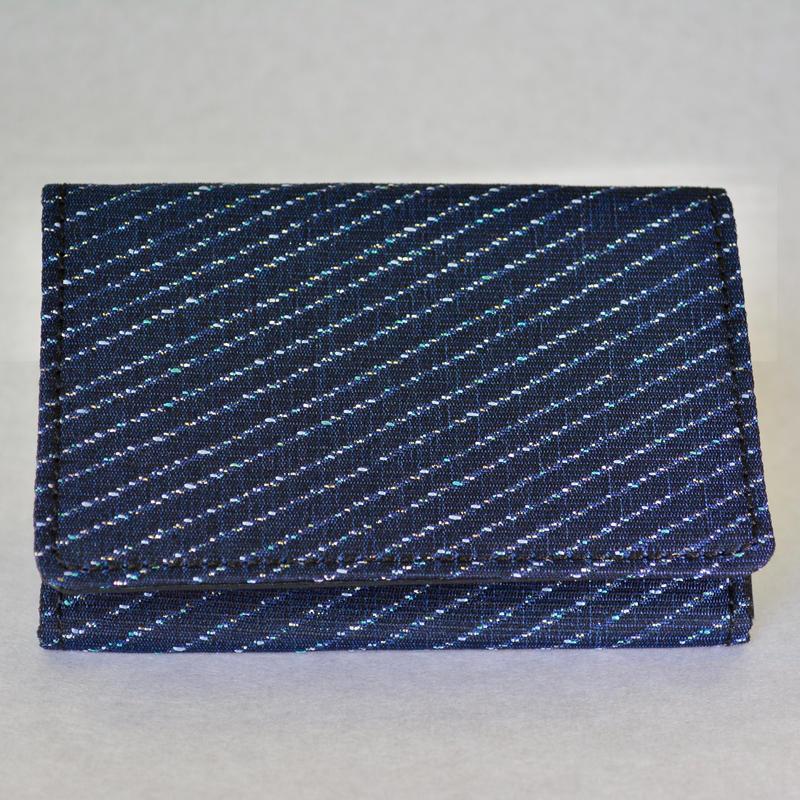 西陣織名刺入れ (藍色×銀糸)