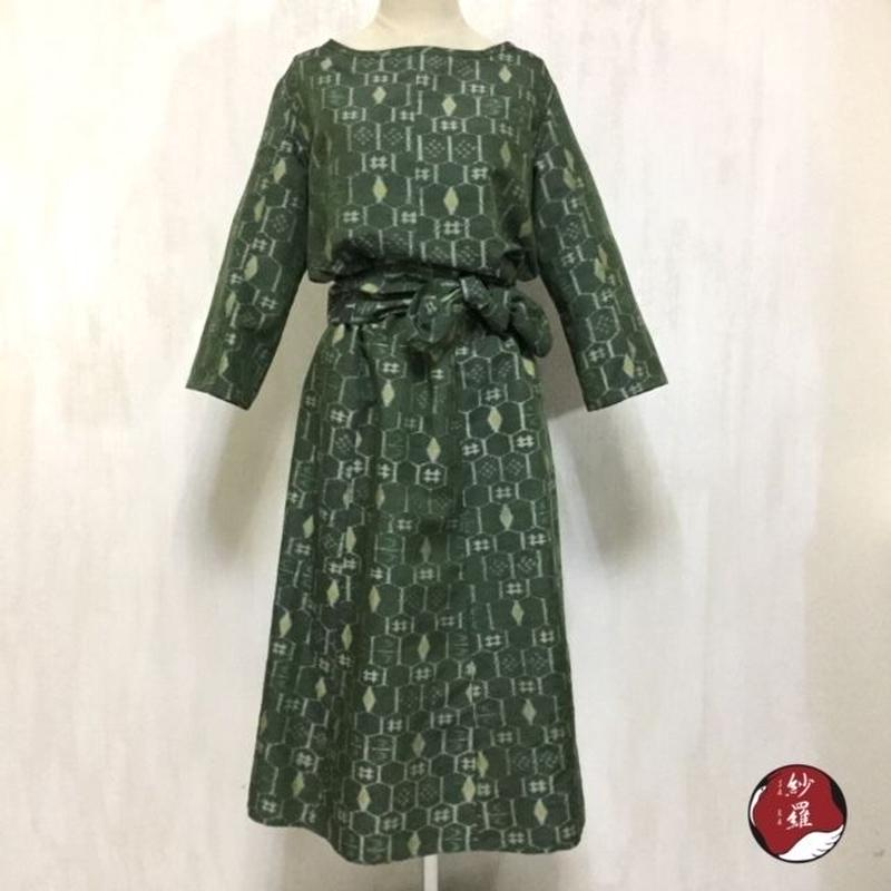紬 ブラウス&スカート&ベルト セットアップ M-Lサイズ 着物リメイク