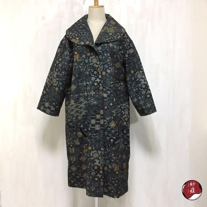 紬 へちまえり ロングコート M-Lサイズ 着物リメイク