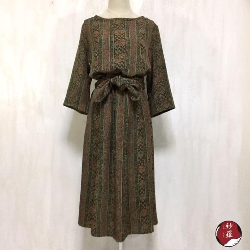 小紋 ブラウス&スカート&ベルト セットアップ M-Lサイズ 着物リメイク
