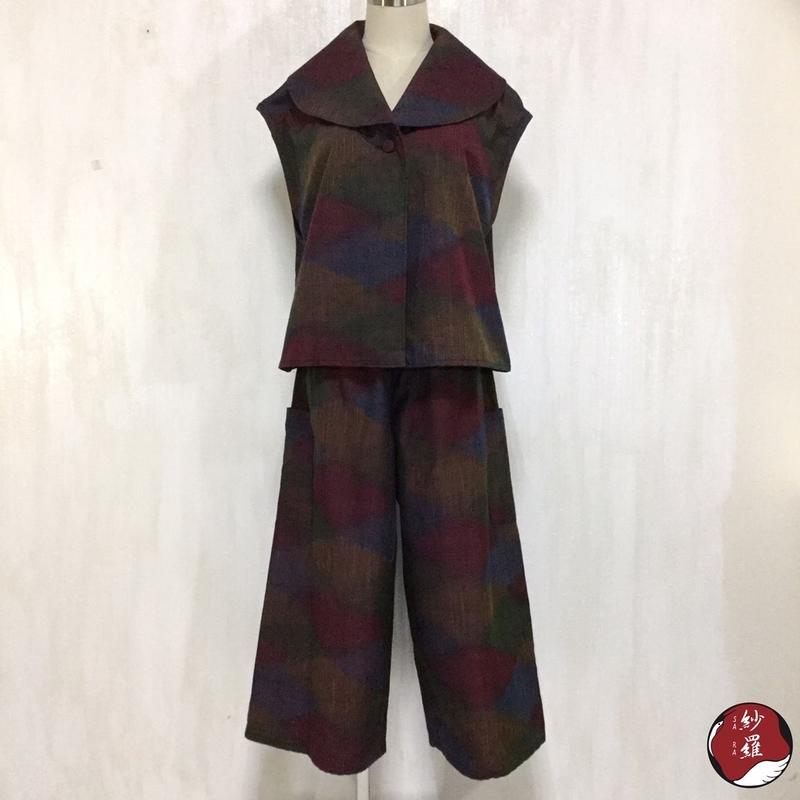 紬 へちまえりベスト ワイドパンツ アンサンブル M-Lサイズ 着物リメイク