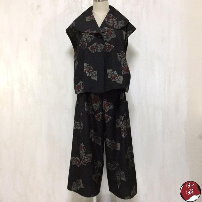 大島紬 へちまえりベスト ワイドパンツ アンサンブル M-Lサイズ 着物リメイク