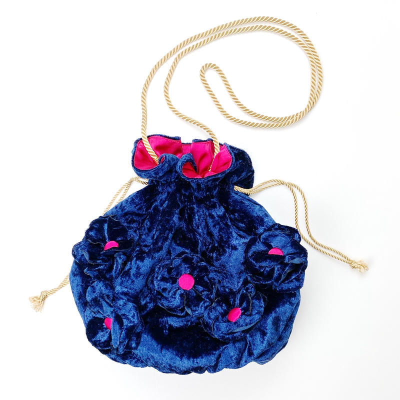 fluffy flower  purse(巾着ポシェット) /navy &magenta