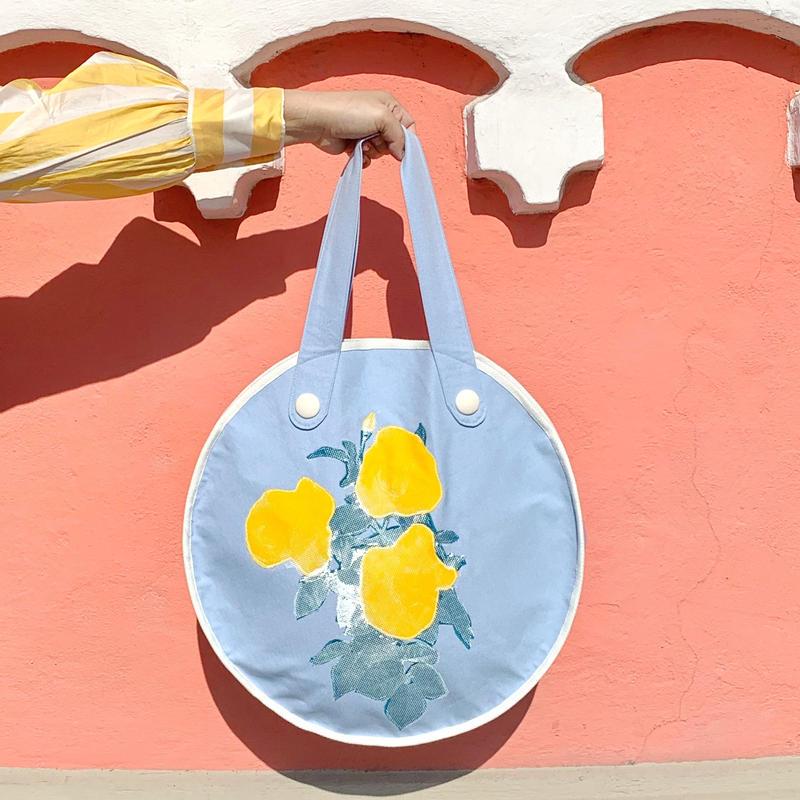 "rose garden  BAG ""circle""/light blue×yellow"