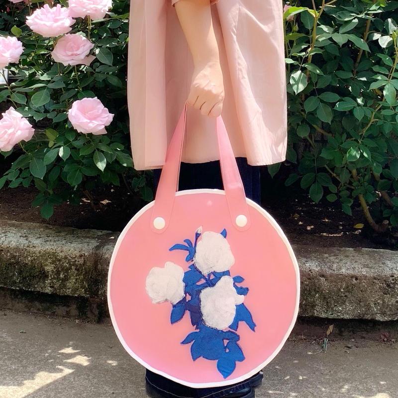 """rose garden  BAG """"circle""""/pink×white"""