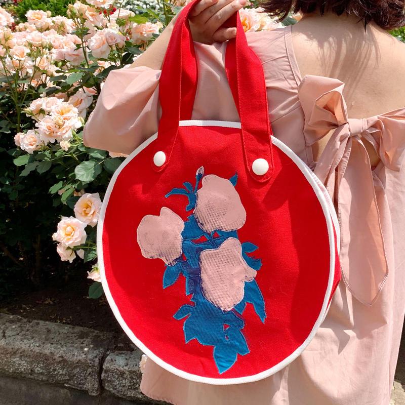 """rose garden  BAG """"circle""""/red×pink"""
