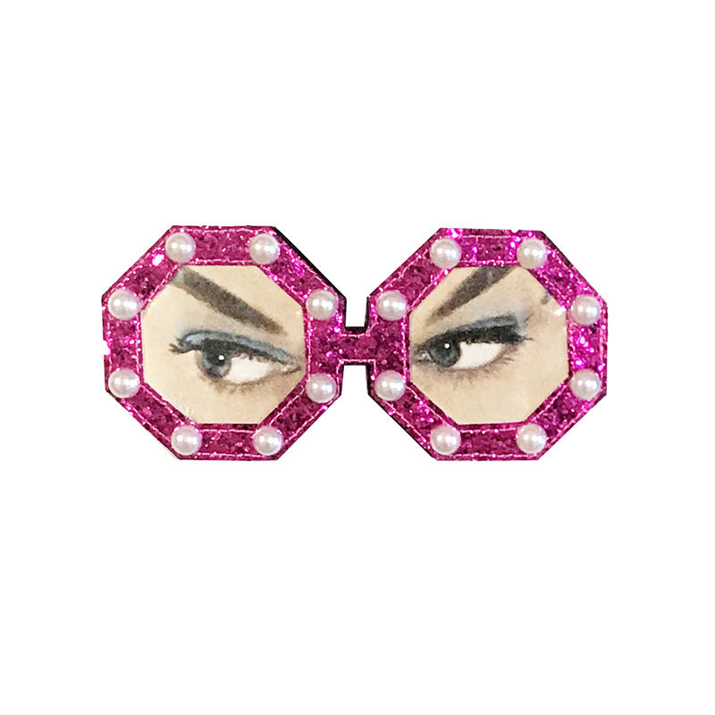 sunglasses brooch/glitter pink
