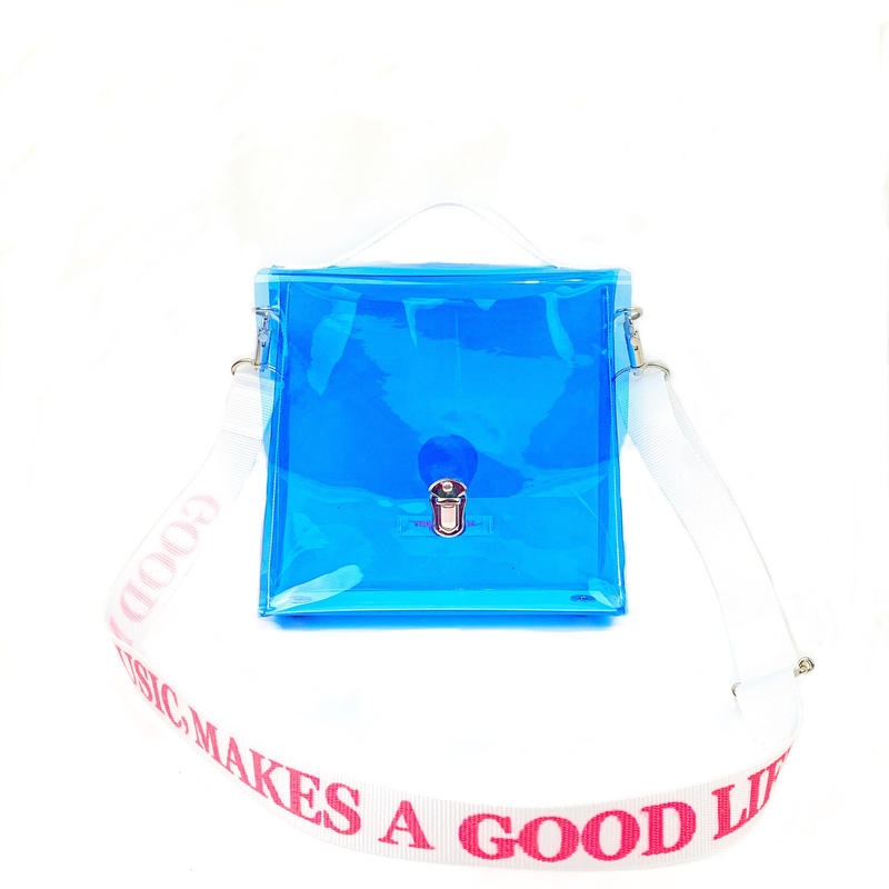 7inch  PVC Record BAG/Light Blue×White