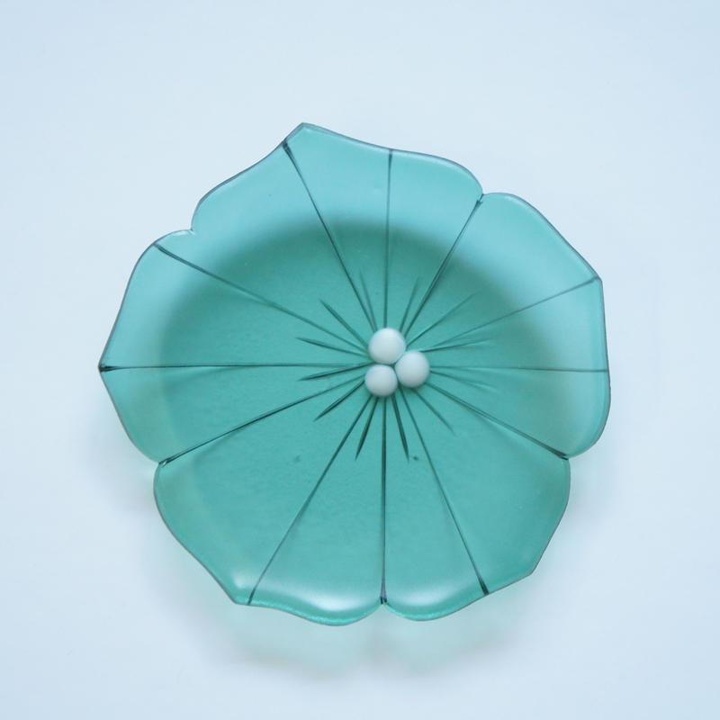 【サンプル品】花型小皿 グリーン