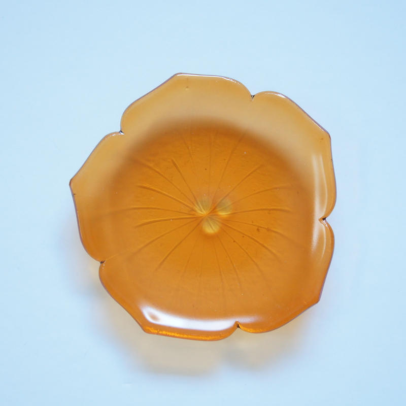 【B品】花型小皿 オレンジ