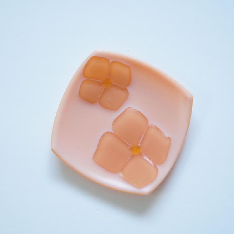角小皿 ミルキー サーモンピンク×ピンク