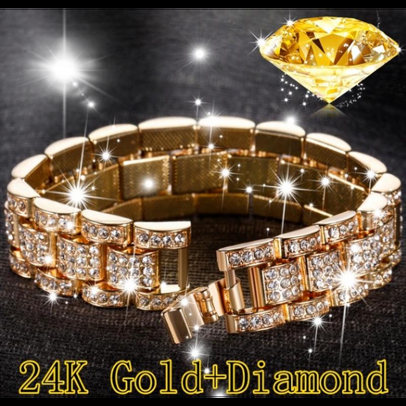 ファッションメンズ24Kゴールド色/ 925シルバーメッキ色ソリッドステンレススチールブレスレットアイスダイヤモンドczリンクチェーンブレスレット8.26インチ