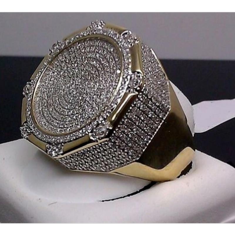 メンズ14Kイエローゴールドgp仕上げパヴェダイヤモンドジルコニアピンキーバンドリング指輪12周年記念ギフト婚約結婚指輪サイズ5-11