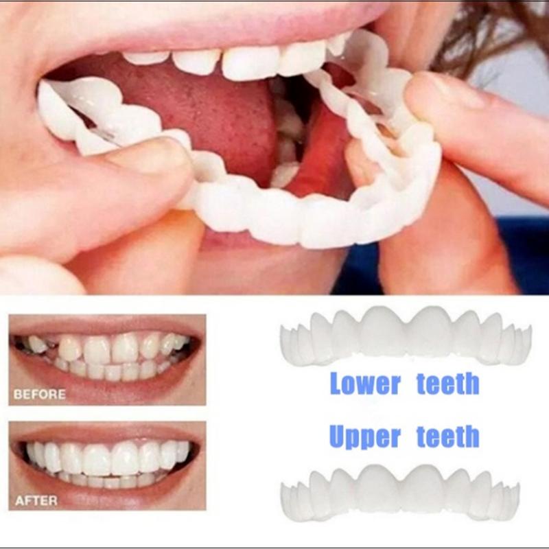 フレッシュトゥースグリル 魅せ入れ歯!芸能人のような歯の白い輝きを即時に 装着するだけの簡単審美歯科セラミックのような輝き 上下セット