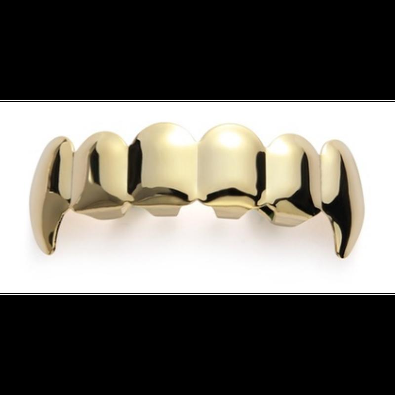 ファッションゴールドメッキヒップホップ歯キャップボディジュエリー金型キットトップ&ボトムグリル歯Grillz上下セット