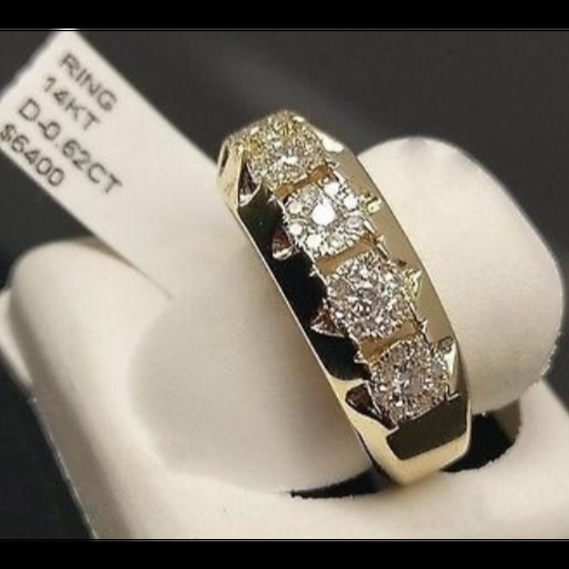 男性のファッション0.52 CT14Kイエローゴールドダイヤモンドバンドテニスピンキーリング周年記念ギフト婚約結婚指輪ジュエリーサイズ5-11