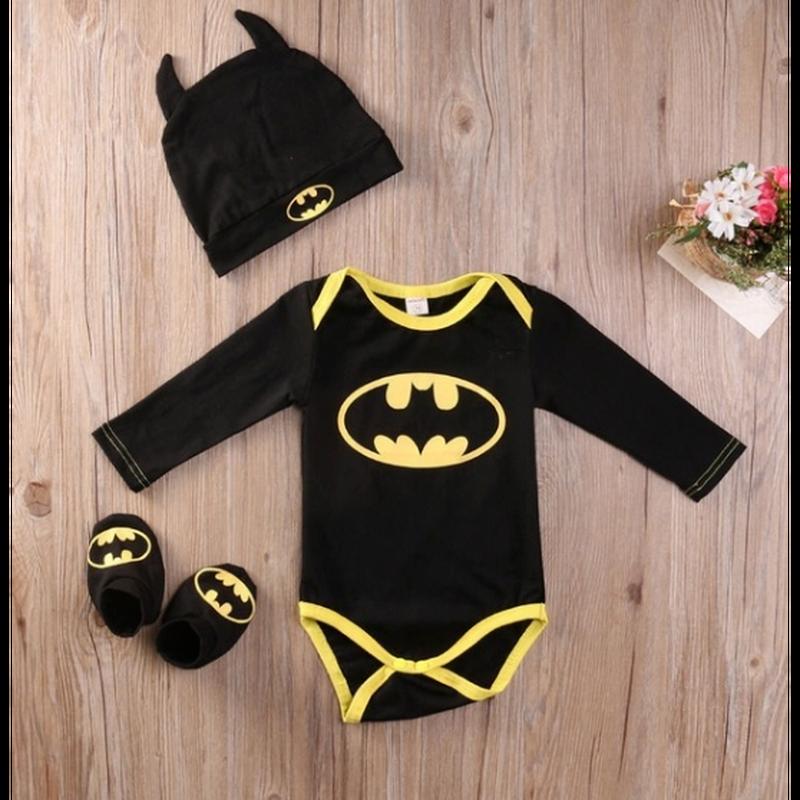 新生児赤ちゃん男の子バットマンロンパースボディスーツシューズ帽子服3ピース衣装セット
