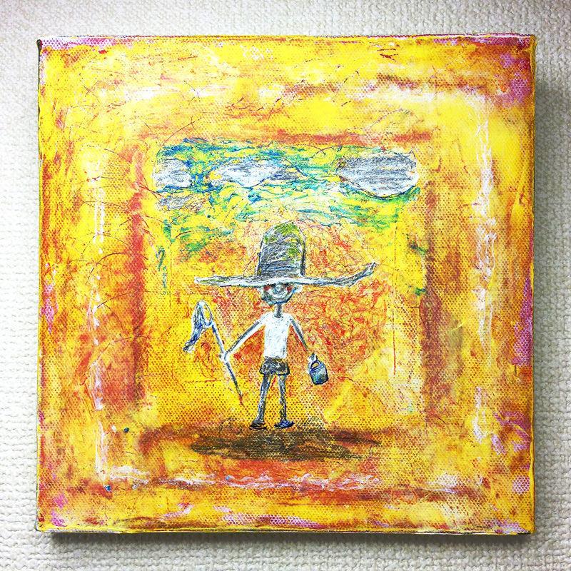 ST048子供と夕焼けの絵「おかえり」左藤芳美