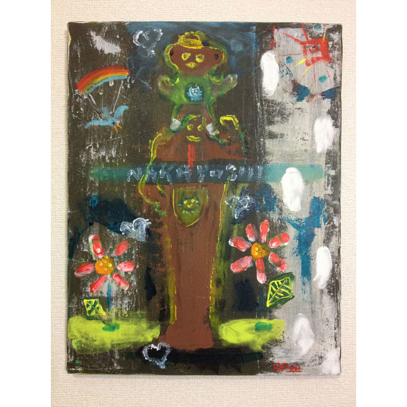 肩車の親子の絵「なかよし」SATOO ST028